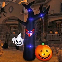 8FT Halloween Inflatable Black Tree with Ghost Pumpkin Halloween Outdoor LED