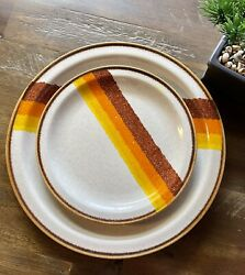 Sunmarc Insight Sand And Sun Side Plate Set Of 3, Mid Century , Stoneware Japan