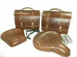 Brown Leather Saddle Bag Front Rear Seat For Royal Enfield Classic C5 500cc Efi