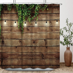 Rustic Farmhouse Shower Curtain Wooden Bran Door Green Leaves Antique Brown Wall