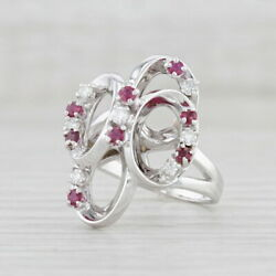 0.52ctw Ruby Diamond Cocktail Ring 14k White Gold Size 7 Linked Rings