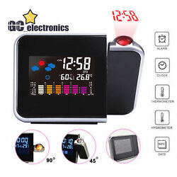LCD Digital Projector Projection Weather Station Calendar Snooze Alarm Clock A3G