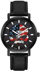 Harley-davidson Menand039s American Flag Willie G Skull Watch W/leather Strap 78a122