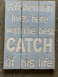 A Fisherman Lives Here With The Best Catch Wood Sign Wall Art Tropical Tiki