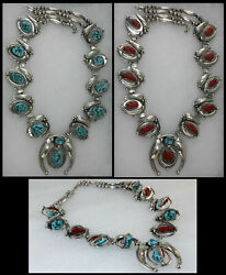 Vintage Sterling Navajo Rotating Turquoise And Coral Gems Squash Blossom Necklace