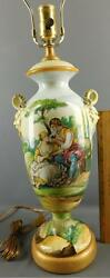Italian Faience Pottery Hand Painted Figural Snake Handle Lamp Artist Signed