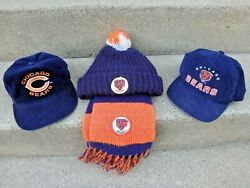 Vvintage Chicago Bears Football Corduroy Hats And Winter Hat With Scarf