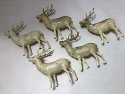 Lot Of 5 Vintage Celluloid Christmas Reindeer White Red Eyes Glitter Japan