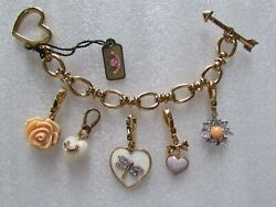 Juicy Couture Heart Arrow Charm Bracelet With 5 Charms New Rare
