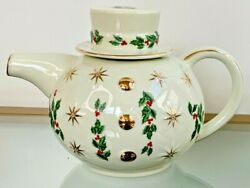 Vintage Baum Brothers Formalities Holly Teapot White Gold Trim Red Berries Stars