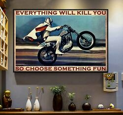Motorcycle Poster Evel-knievel Auto Racing Vintage Art Wall Decor Gift Unframed