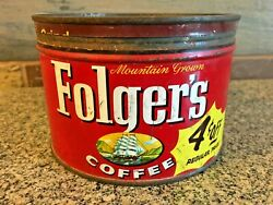 Vintage 1959 Folgers Coffee 1 Lb Tin Can Sailing Clipper Ship 4 Cents Off Label