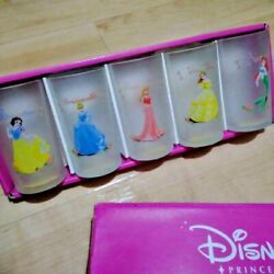Disney Princess Frosted Glass Cup Set Tableware Snow White Cinderella Ariel Bell