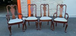 Set 4 Hickory Chair Co Mahogany Queen Anne Style Dining Room Chairs C1990s