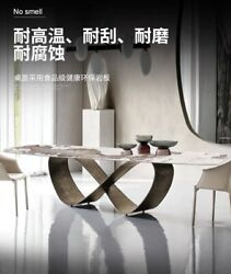 71andrdquo Contemporary Sintered Stone Dining Table + Gold/black Stainless Steel Base