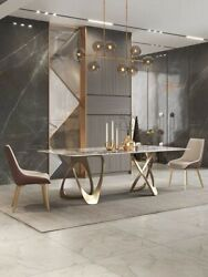 Customized 71andrdquo/79andrdquocontemporary Design Sintered Stone Diningtable With Steel Base