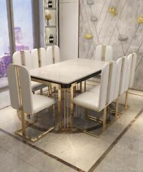 71andrdquo/79andrdquo Contemporary Faux Marble Table Top With Stainless Steel Base