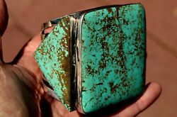 Stunning Giant Oscar Betz Sterling Silver 3 Large Turquoise Stones Cuff Bracelet