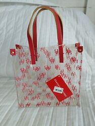 Dooney and Bourke Small red amp; gold monogram acrylic Lunch Bag $20.00