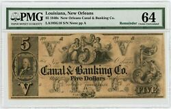 1800's 5 The Canal And Banking Co. - New Orleans, Louisiana Note Pmg Ch.cu 64