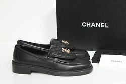 Sz 37 Black Quilted Flap Turnlock Cc Logo Mule Slip On Flat Loafer Shoes
