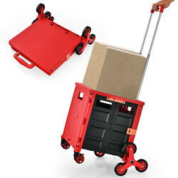Foldable Utility Cart Telescoping Handle Trolley Travel Shopping Red