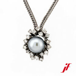 Necklace Classic 585/14k White Gold 1 Grey Akoyaperle Diamonds 15 11/16in
