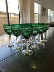 Waterford Crystal Clarendon Serenity Emerald Green Wine Goblet - Signed 12 Set