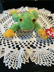 Ty Beanie Retired Frog Smoochy With Card Protecter Stored Over 20 Years