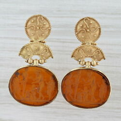 Carved Glass Intaglio Earrings 18k Yellow Gold Figural Statues Mythology