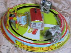 Vintage Honeymoon Express Tin Toy Wind-up Train Works By Louis Marx 1920-30's
