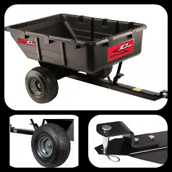 10 Cu. Ft. 650 Lb. Tow-behind Poly Utility Cart Pneumatic Tires Rust Resistant