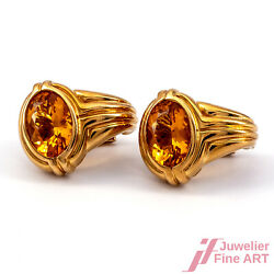 Bulgari Clip Connector In 18k/750 Yellow Gold With 2 Oval Citrinen - 196 G Pair