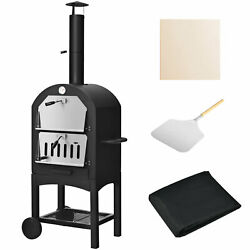 Pizza Oven Wood Fire Pizza Maker Grill Outdoor W/ Pizza Stone And Waterproof Cover