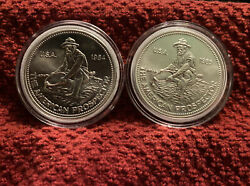 1984 And 1985 1 Oz Englehard Prospector Rounds .999 Silver Bu Amazing Coin