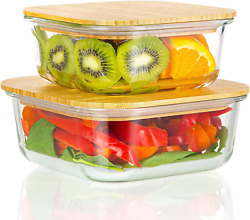 Glass Meal Prep Containers With Bamboo Lids 2 Pack Airtight Clear Food