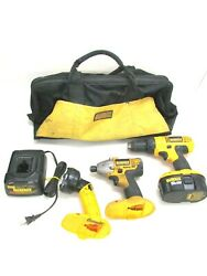 Dewalt 18v 1/2 Drill, Impact Driver, Flashlight Kit W/ Battery, Charger And Bag
