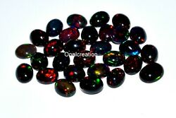 Natural Ethiopian Black Opal Oval Cabochon Fire Opal Loose Gemstone 9x7 Mm Size