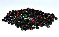 4x3 Mm Size Natural Ethiopian Black Opal Oval Cabochon Fire Opal Loose Gemstone
