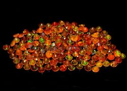 5x5 Mm Size Natural Ethiopian Orange Opal Faceted Round Fire Opal Loose Gemstone