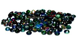 5x5 Mm Size Natural Ethiopian Black Opal Faceted Round Fire Opal Loose Gemstone