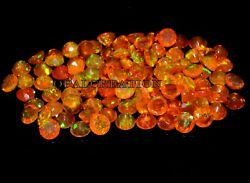 Natural Ethiopian Orange Opal Faceted 7x7 Mm Size Round Fire Opal Loose Gemstone