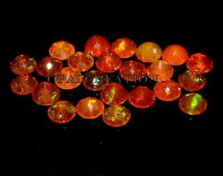 Natural Ethiopian Orange Opal Faceted 10x10 Mm Round Fire Opal Loose Gemstone
