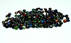 7x7 Mm Size Natural Ethiopian Black Opal Faceted Round Fire Opal Loose Gemstone