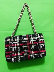 Classic Double Flap Bag Quilted Tweed And Ribbon Medium