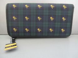 Nwt Rugby Skull And Crossbones Silk Leather Wallet Black Watch Plaid