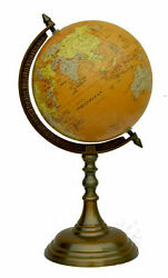 Antique Brass World Globe And Map On Aluminium Stand Home Office Table Desk Decor