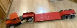 Old Time Toys Giant Pressed Steel Lowboy Truck/trailer Buddy L Lookalike 1990and039s
