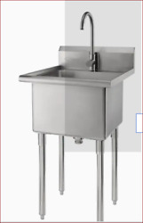 Trinity 24-in X 21.5-in 1-basin 304 Grade Stainless Steel Freestanding Utility T