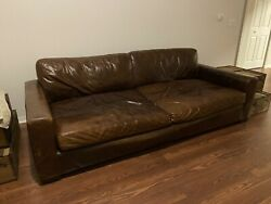 Restoration Hardware 8andrsquo Maxwell Leather Luxe Sofa Brown Brompton Cocoa Couch